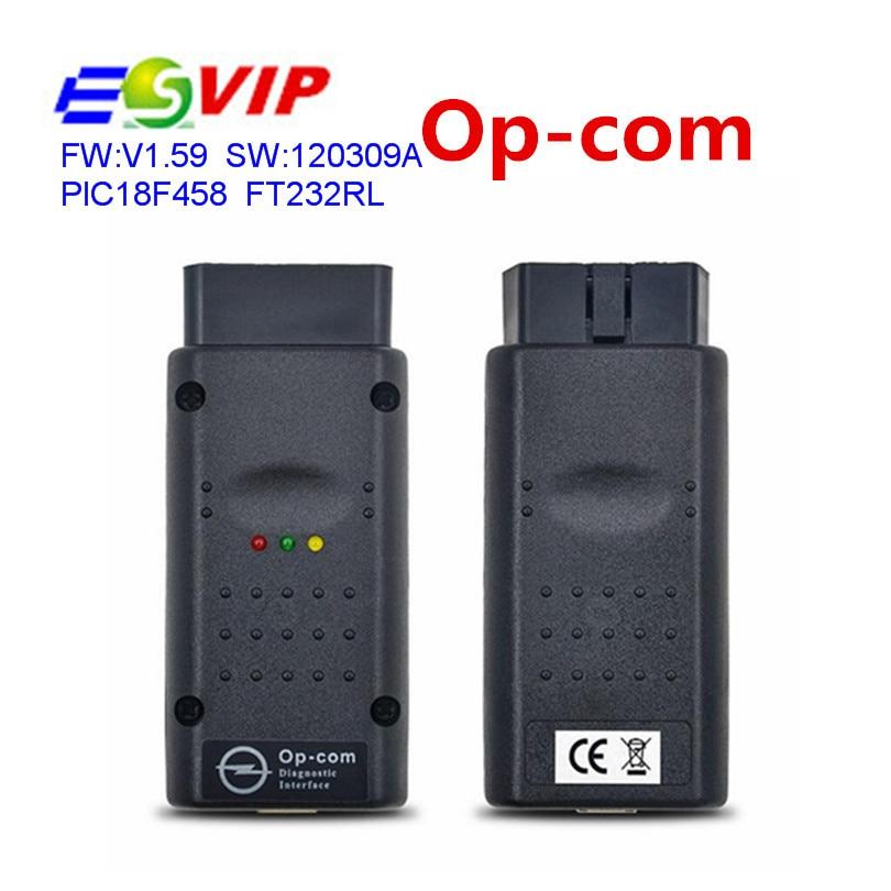 Prix pour Le plus bas Prix V1.59 avec PIC18F458 Opcom Op-com Auto Voiture Radiodiagnostique outil O-pel Opcom OP COM OBD2 CAN BUS Interface SW 120309A