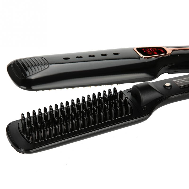 Hair Straight Ceramic Electric Styling Brush Steam Moisturizing Hair Straightener Brush Hair Flat Iron Infrared Ray Steam Comb ceramic electric hair straightener direct volume dual use bangs straight hair comb perm artifact does not hurt free shipping