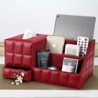 Tissue Box Multi functional Napkin Holder PU Leather Remote Controller Storage Box Home Decoration Table top Organizer