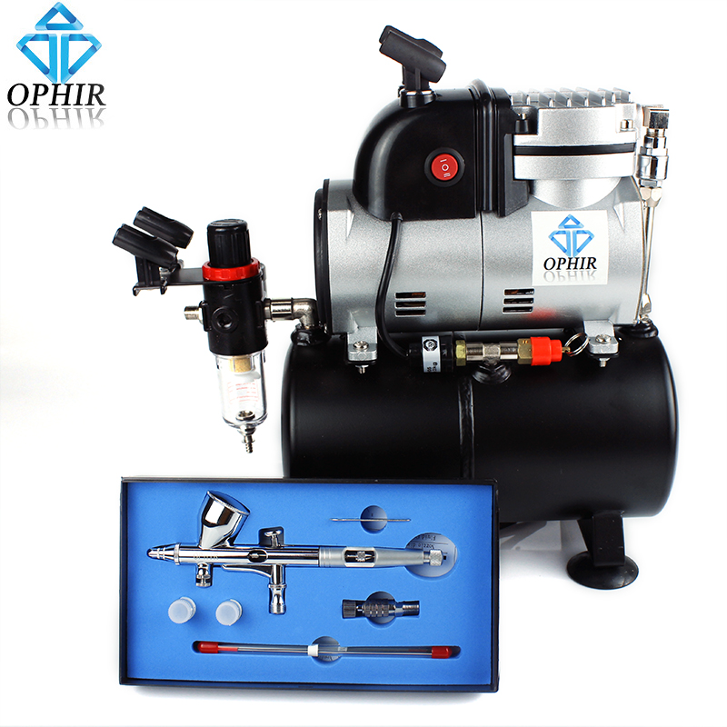 OPHIR 3 Tips Dual Action Airbrush Kit with Cooling Fan Air Tank Airbrush Compressor for Tattoo Hobby Cake Decoration_AC116+AC070 ophir temporary tattoo tool dual action airbrush kit with air tank compressor for model hobby cake paint nail art ac090 ac004