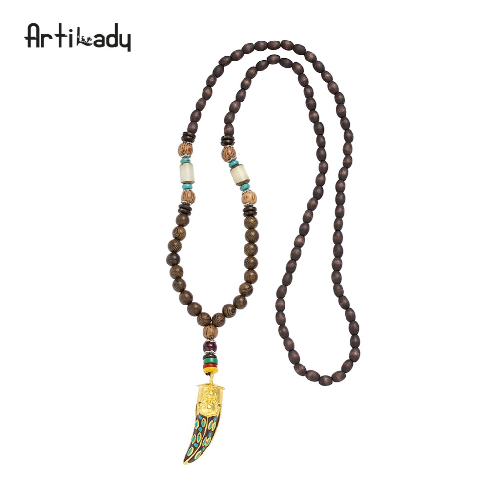 Artilady wooden buddha beads necklace horn shape pendant necklace India religious souvenir jewelry gift for men women