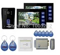 "Home New Wired 7"" Touch Ke Video Door Phone Intercom Entry System 2 Monitor + 1 RFID Access Camera+Electric Control Lock"