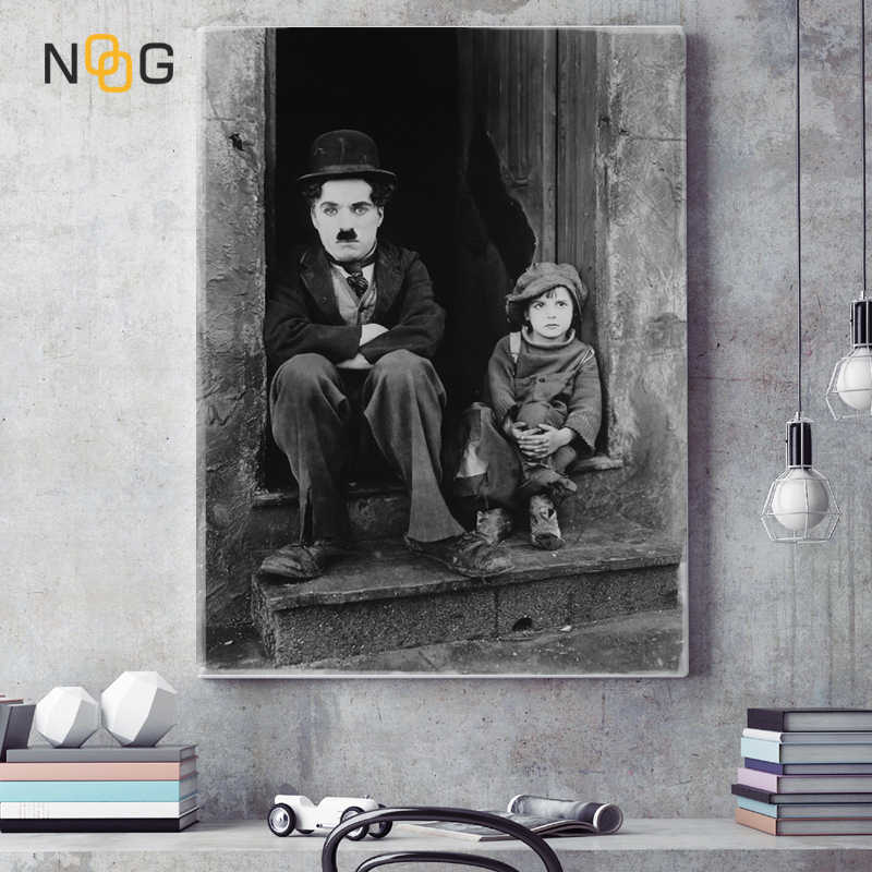 NOOG Home Decor Canvas Painting Wall Art Movie Poster Charlie Chaplin Wall Pictures for Living Room Coffee Room Decor