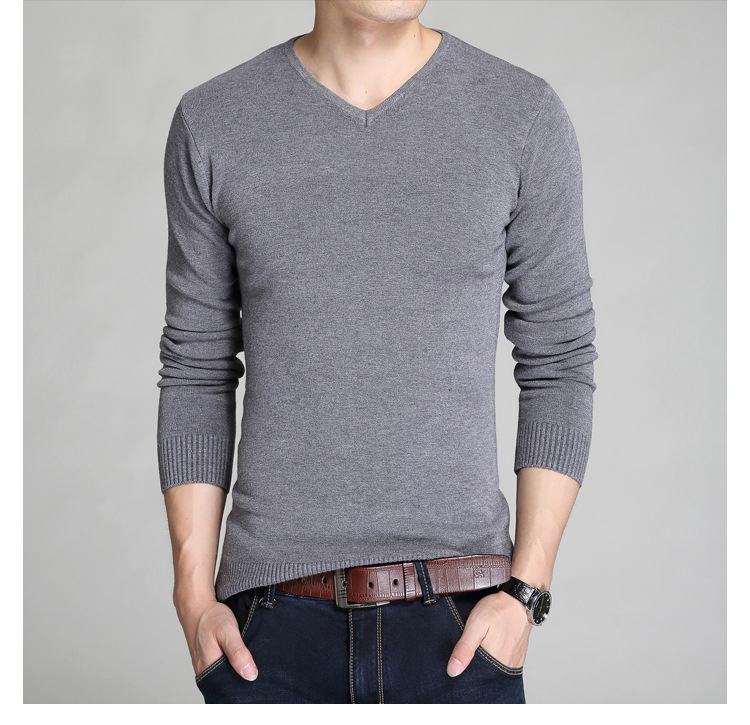 LASPERAL Sweater Men Clothing Pullovers V-Neck Knitting Long-Sleeve Male Man Cotton Slim