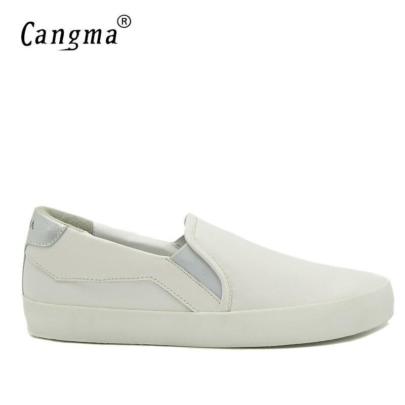CANGMA MARQUE белые туфли для мужчин слипоны Пояса из натуральной кожи Спортивная обувь повседневная обувь Винтаж Лоферы Для мужчин ретро Мужска...