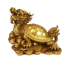 Feng Shui Brass Lucky Dragon Turtle Figurine On Bed of Wealth Coin