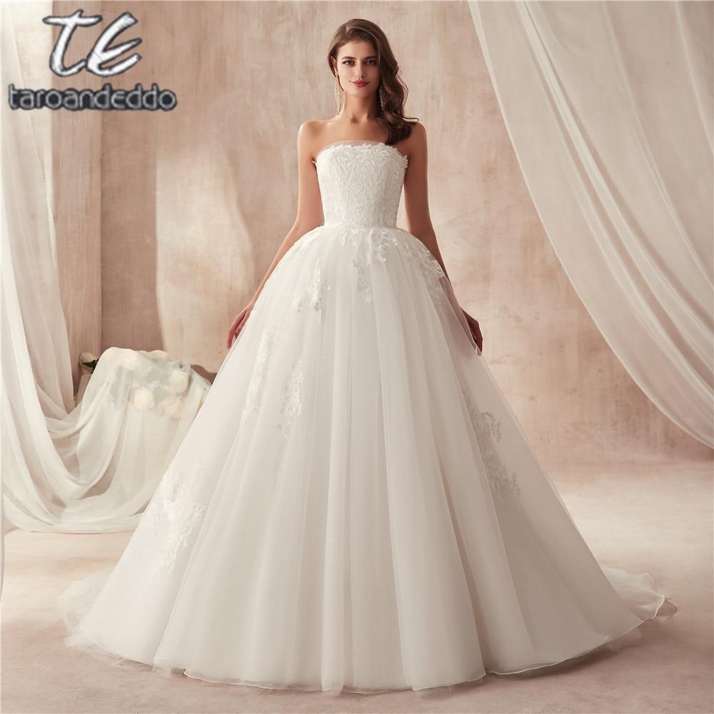 Pretty Organza Strapless Ball Gowns Wedding Dress Lace Applique
