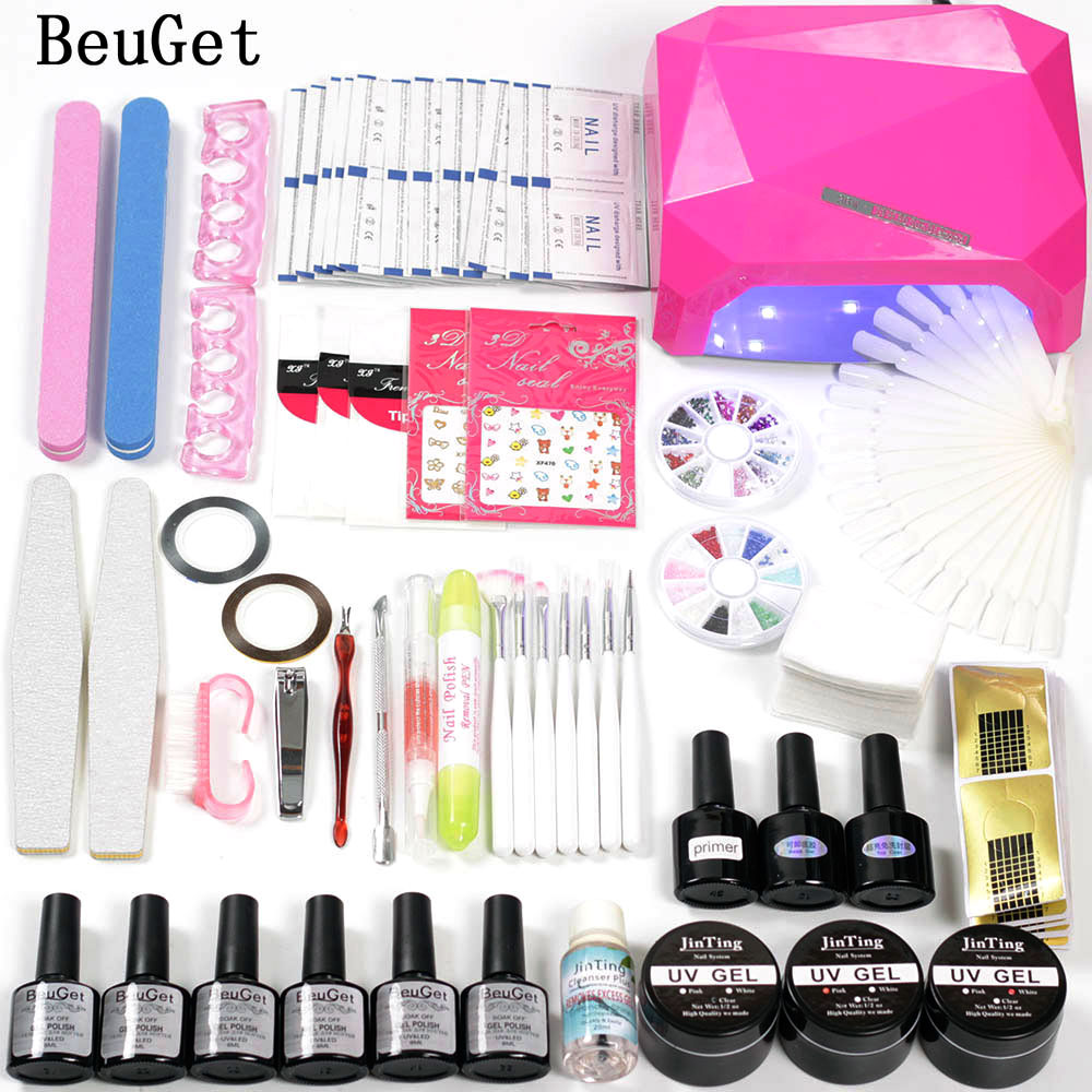 Nail Lamp 36w Led nail Lamp with 6 Colorful Uv Gel Curing Gel Nail Kits Gel Lacquer Base and Top Primer for Manicure чехол из натуральной кожи для huawei ascend p8 lite бирюзовый кроко abilita