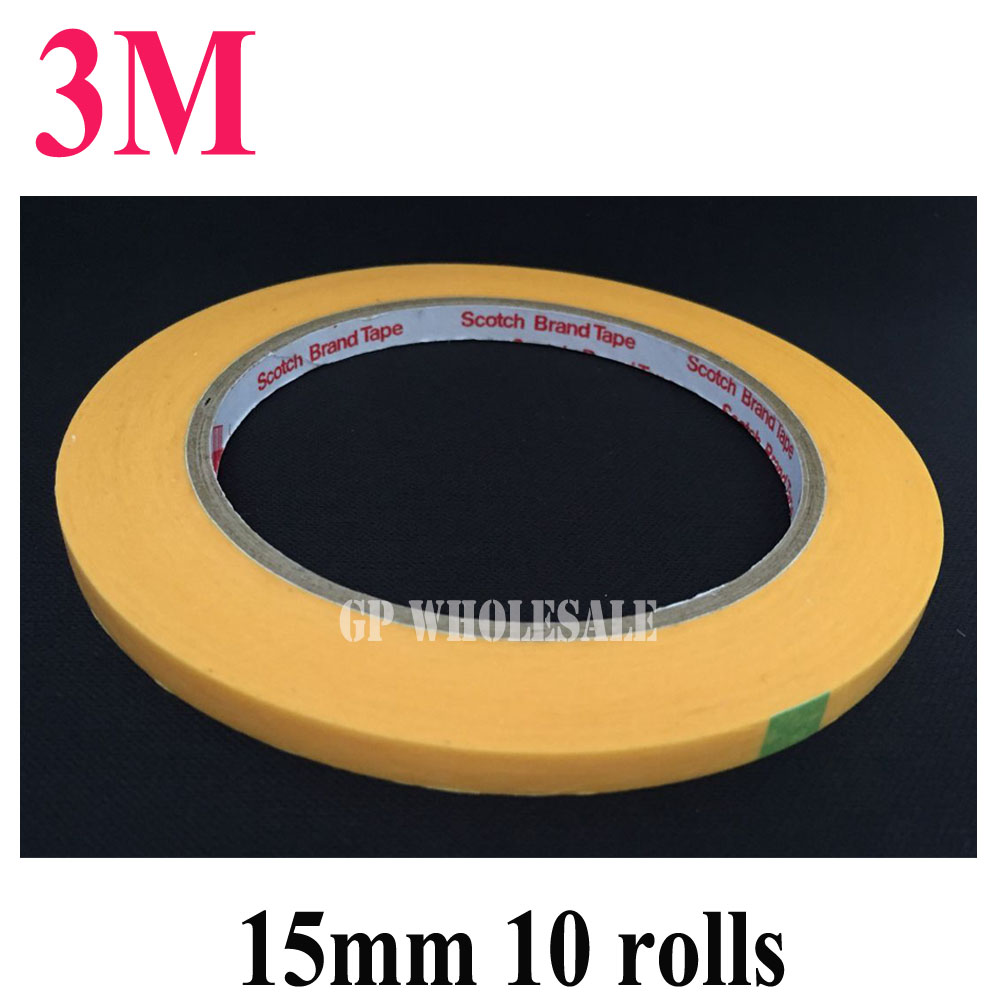 10x New 3M 15mm*50M 3M244 Yellow Masking Tape for PCB Auto High Temperature Painting Coating Shielding Protecting #30
