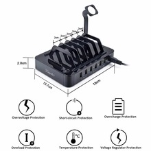 Top Charging Station Dock Stand Holder 6 Ports 1A/2.4A Multi Function Universal USB Charger For iPhone 7 6 6S Plus 5 Samsung LG