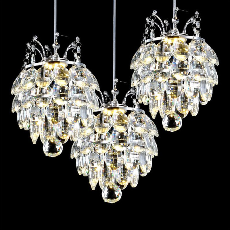 Luxurious Modern Fashion K9 Crystal Led 7w*1/3 Heads Pendant Light for Dining Room Living Room Droplight AC 80-265V 1367 modern fashion luxurious rectangle k9 crystal led e14 e12 6 heads pendant light for living room dining room bar deco 2239