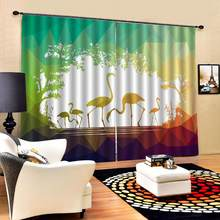 green 3D Curtain Luxury Blackout bird Window Curtain Living Room cartoon curtains for children room Blackout curtain(China)