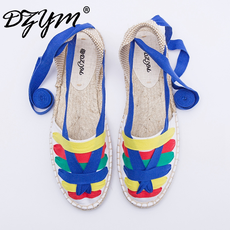 DZYM 2017 Summer Moccasin Patchwork Flats Women Cross-Strap Canvas Espadrilles High Quality Fisherman Shoes Sapato Feminino vintage embroidery women flats chinese floral canvas embroidered shoes national old beijing cloth single dance soft flats