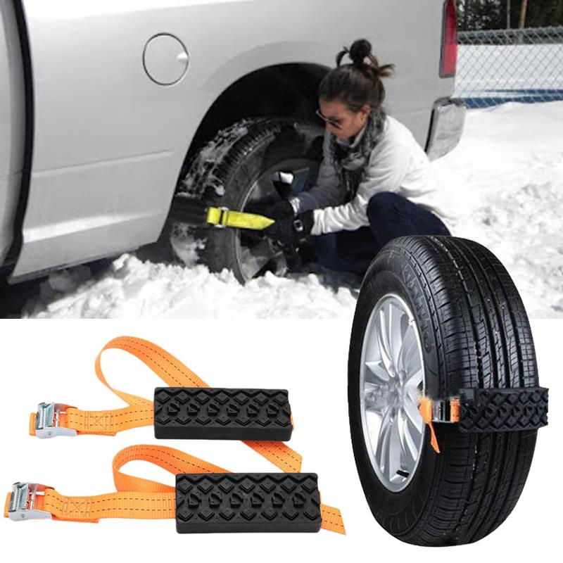 Vehemo 2PCS Car Snow Chains Anti-Skid Snow Mud Adjustable Car Tire Wheel Chains Tyre Strap Belt Outdoor Road Safety Protector vehemo 12mm metal tyre screw wrench snow chains tire stud screws anti slip wheel durable spare parts