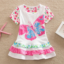 2016 Wholesale BABY Girl Clothes short Sleeve Girls Dress Bow Kids pretty Dresses Full A-line children clothing new style SQ902
