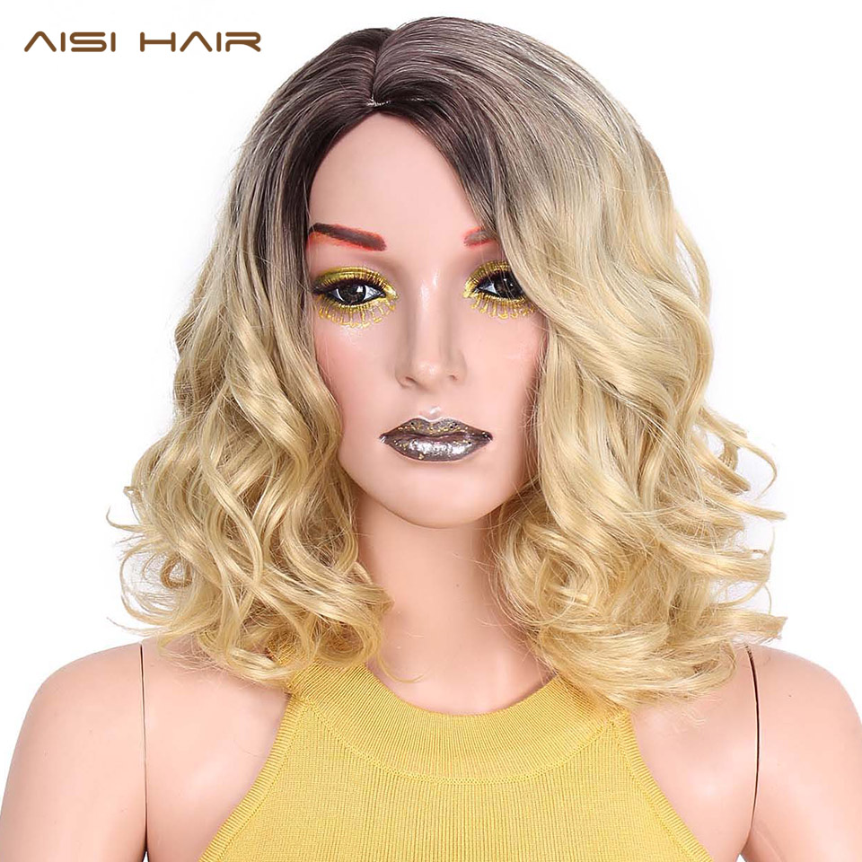AISI HAIR Omber Blonde Curly Wigs Hair 12 inch Short Brown Synthetic Wigs for Women can be Straight Heat Resistant Hair