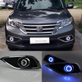 Car styling Fit Honda CRV 2012-2014 LED Daytime Running Lights DRL Projector Lens Fog lights + Angel Eyes Kit