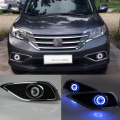 Car styling Fit Honda CRV 2012-2014 LED de Luzes Diurnas DRL luzes de Nevoeiro Lente Do Projetor + Angel Eyes Kit