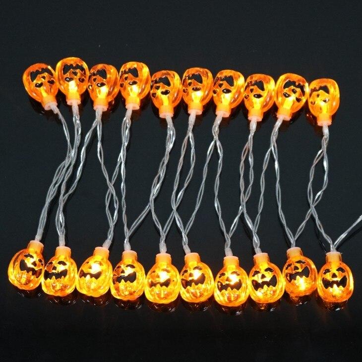 Хэллоуин праздник фонари светодиодные Строка Хэллоуин 20Led-50 светодиодов тыквы Ночная AA/AC Работает вечерние реквизит фея