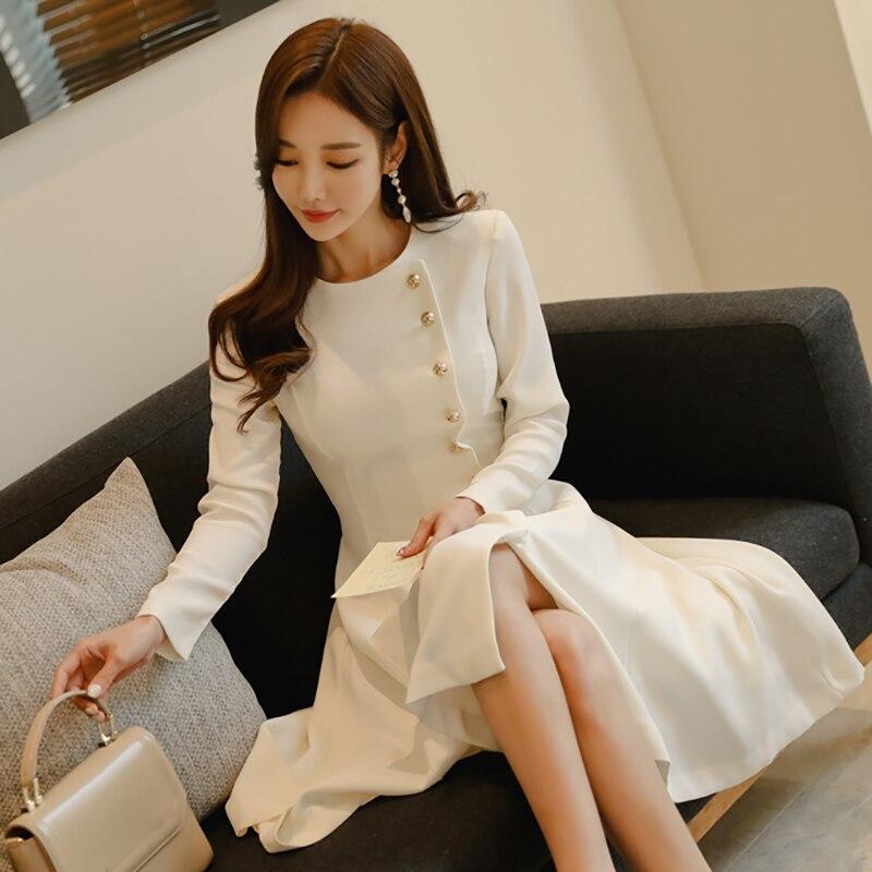 Elegant Dress Women Casual Long Sleeve Dress Office Lady Runway Designers High Fashion Dress 43