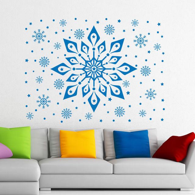 2017 Christmas Art Vinyl Wall Stiker Snowflake Pattern Frozen Wall Mural  Home Window Christmas Art Decor