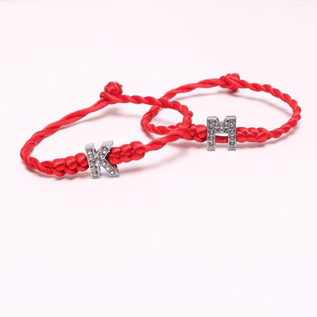 d51ed19eba4c € 0.59  H Z cuerda joyería hecha a mano para pareja pulsera letras de  cristal encantos cuerda roja pulseras de la suerte para mujer en Pulseras  de ...