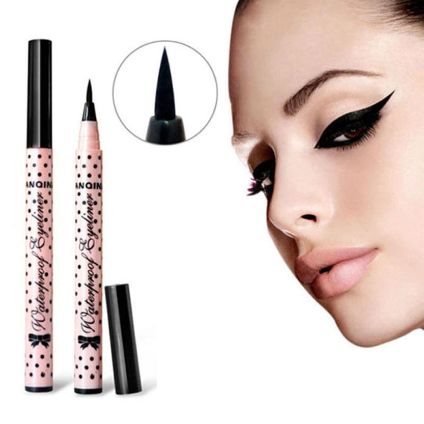 High Quality Pink Casing Color Eyeliner Pen Makeup Cosmetic Black Pink Liquid Eye Liner Pencil Make Up Tool Anne free shipping 3 pp eyeliner liquid empty pipe pointed thin liquid eyeliner colour makeup tools lfrosted purple