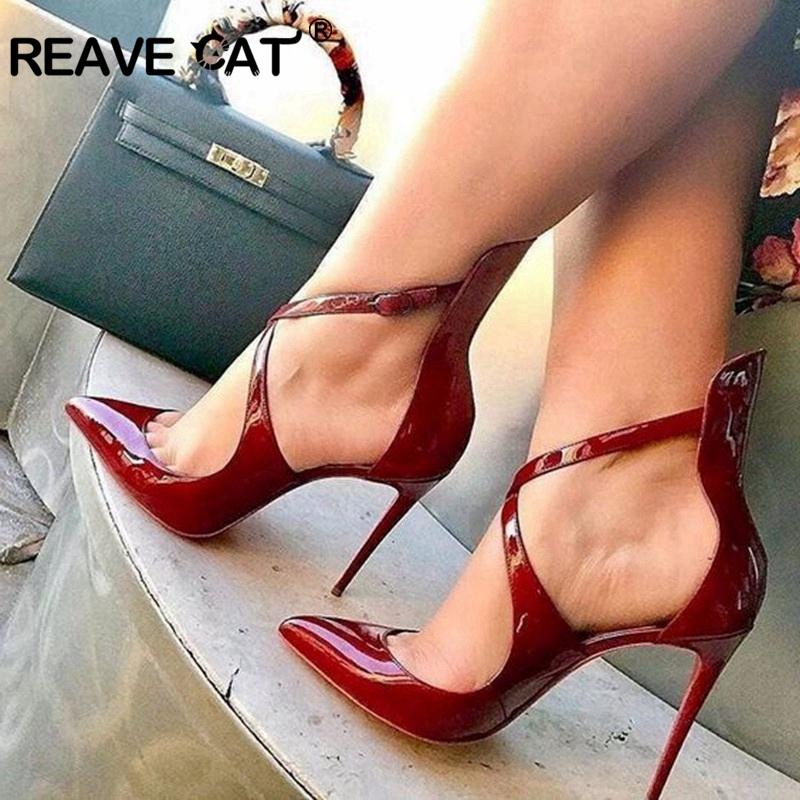 REAVE CAT Shoes woman High heel Women s pumps Pointed toe Slip on Patent leather Wine