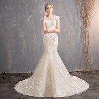 Длинное платье невесты русалка свадебные платья 2019 кружево аппликации Vestido De Casamento Sereia белый свадебное платье Princesse