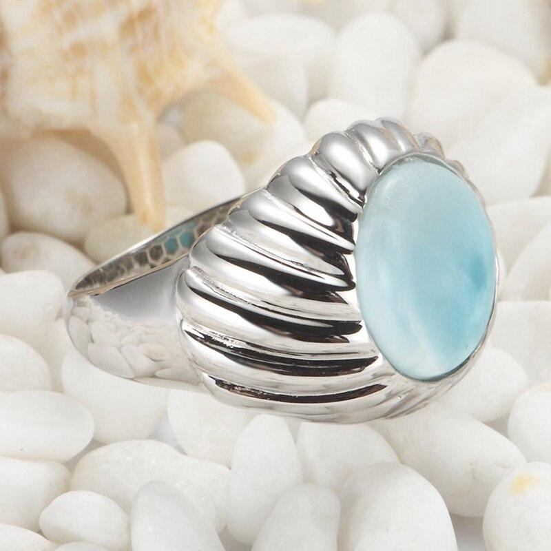 Eulonvan luxe Larimar pierre naturelle fiançailles bagues de mariage bijoux pour femmes 925 en argent sterling belle S-3802 taille 6 7 8 9 - 3