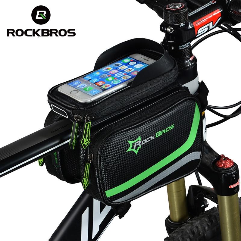 ROCKBROS MTB Fahrrad Rahmen Vorne Tasche Kopf Top Rohr Doppel IPouch Touch Radfahren Pannier Für 5,8/6 zoll Smartphone touchscreen