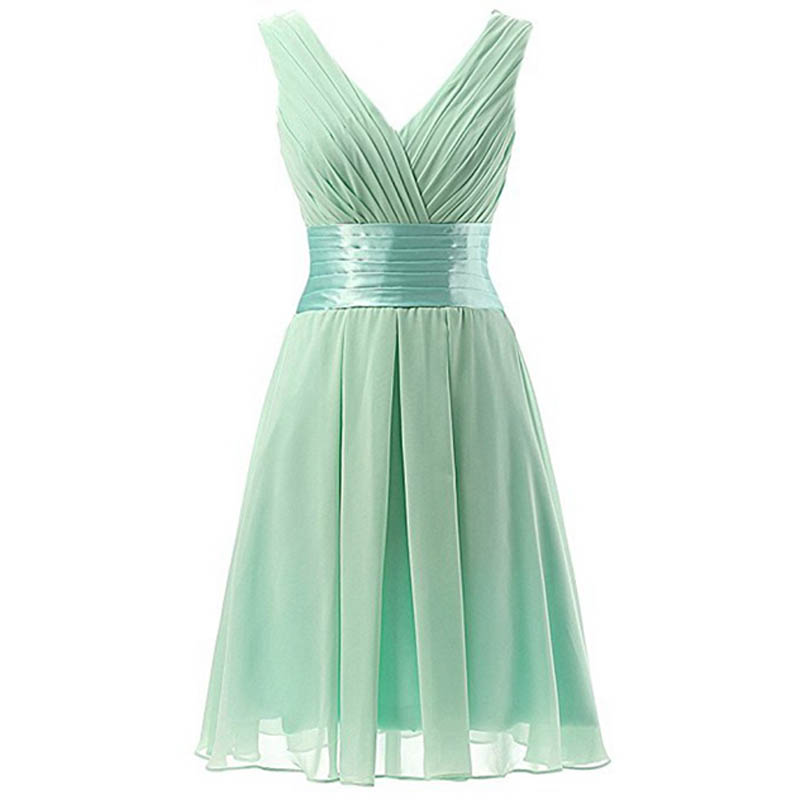 U-SWEAR 2019 New Simple A-Line   Bridesmaid     Dresses   V-neck Knee-Length Chiffon Maid of Honor Mint Sleeveless Mariage Formal