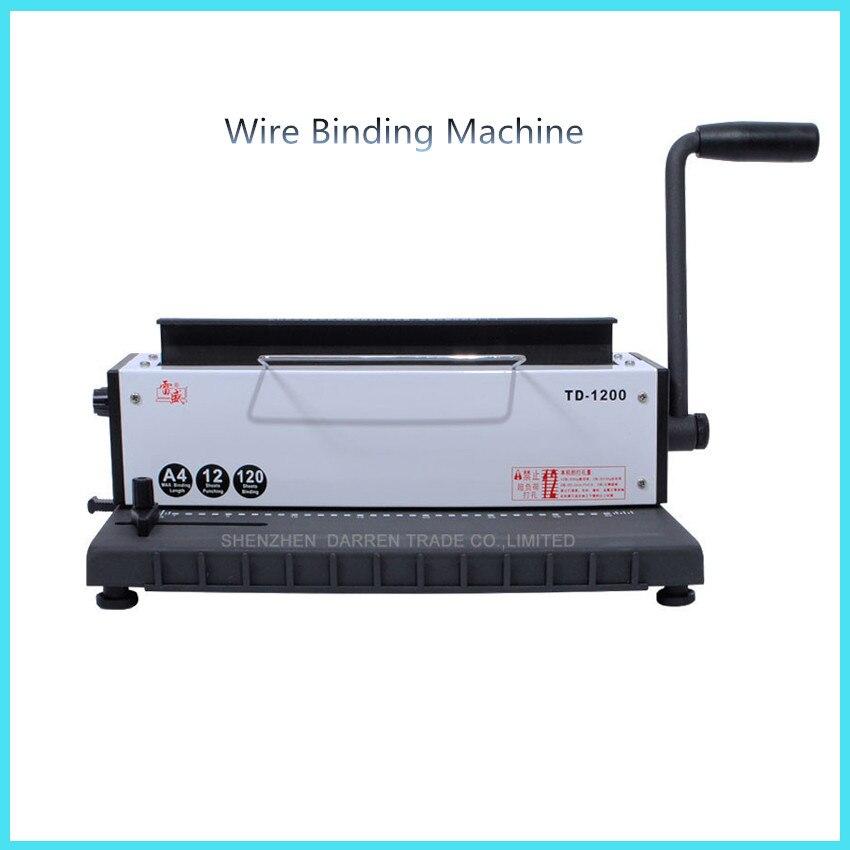 New Wire binding machine two-thread machine calendar punching machine book binder machine high quality TD-1200 manual hot glue book binding binder machine