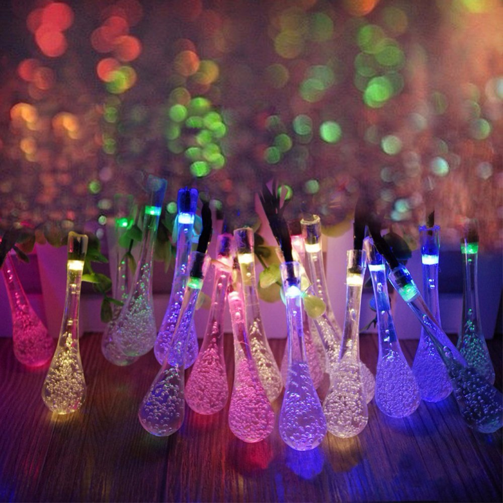 Indoor christmas decorations lights - 5m Solar Powered Water Drop String Lights Led Fairy Light 20led For Wedding Christmas Party Festival
