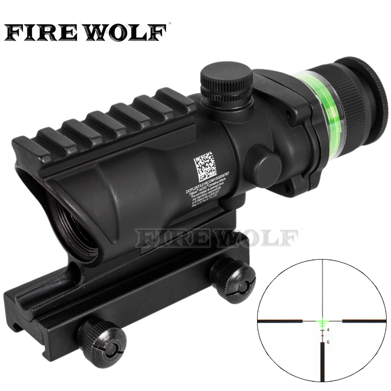 Tactical Acog Style 4x32 Rifle Scope BK Red Dot Green Optical Fiber 20mm Rail