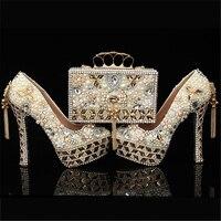 Туфли лодочки женская обувь и сумки в комплекте жемчугом кристалл кошелек свадебная обувь на платформе на высоком каблуке из натуральной к