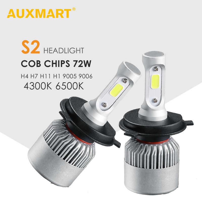 Auxmart H4 H7 H11 9005 9006 H1 COB Car LED Headlight Bulbs Hi-Lo Beam 72W 8000LM 6500K/4300K Auto Led Headlamp Car Light 12v 24v