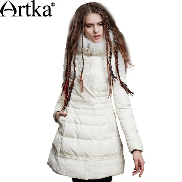 Artka женская ретро зимняя одежда стоячем воротником с длинными рукавами 90% утиный пух белый лоскутный высококачественный элегантный удобный длиный пуховик ZK15158D 11.11