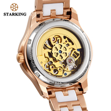 STARKING Women Automatic Steel Case Vogue Dress Skeleton Transparent Mechanical Watch (2 colors)