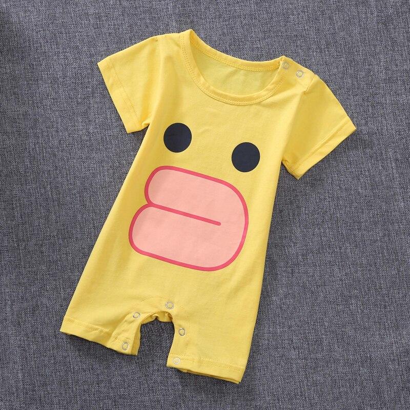 Детские пижамы цельная Пижама для мальчиков, Пижама для девочки, летняя одежда для отдыха, комбинезоны, одежда для сна от 0 до 3 месяцев - Цвет: Цвет: желтый