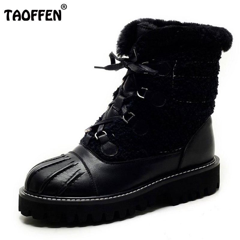 TAOFFEN New Winter Genuine Real Leather Boots Women Flats Plush Ankle Snow Boots Feminina Casual Lace Up Women Shoes Size 34-39 muhuisen winter men genuine leather shoes fashion casual plush warm boots lace up flats male snow boots fur inside comfort