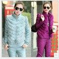 Moda inverno quente Mulheres de lã para baixo Casaco Casacos e calças de ternos conjunto terno 3 peças ternos do revestimento do revestimento parkas define calças jaqueta