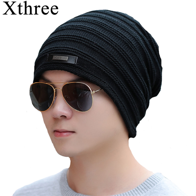 Xthree Winter   Skullies     Beanies   Men Knitted Hat Caps Lining Keep warm Male Gorras Bonnet Winter Hats For Men Women   Beanies   Hats