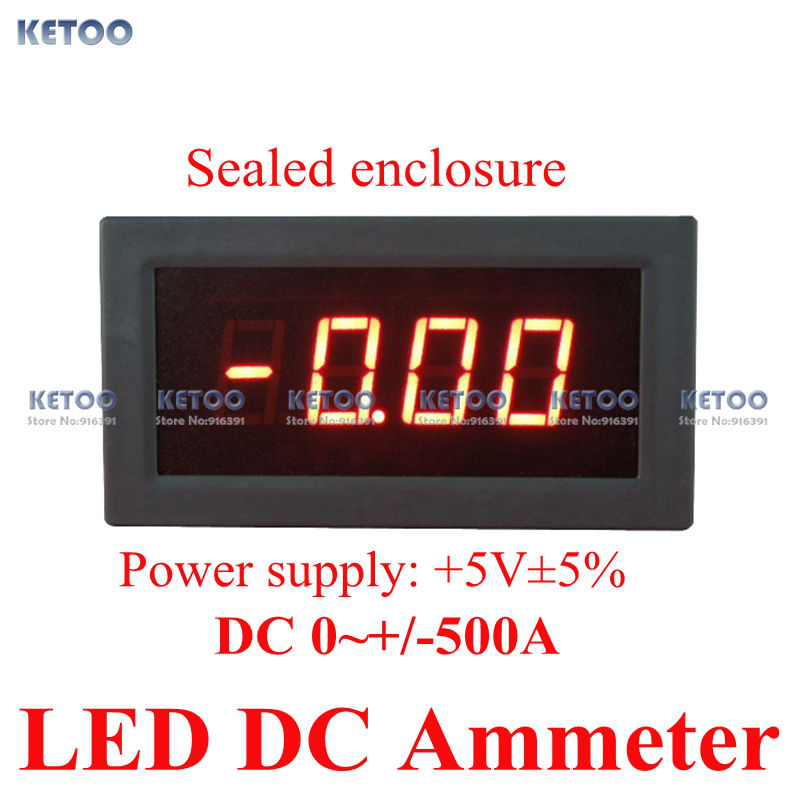 KETOO Technology Co.,LTD New Red LED display DC digital ammeter -500A to +500A test positive and negative current meter 5V power supply Free shipping
