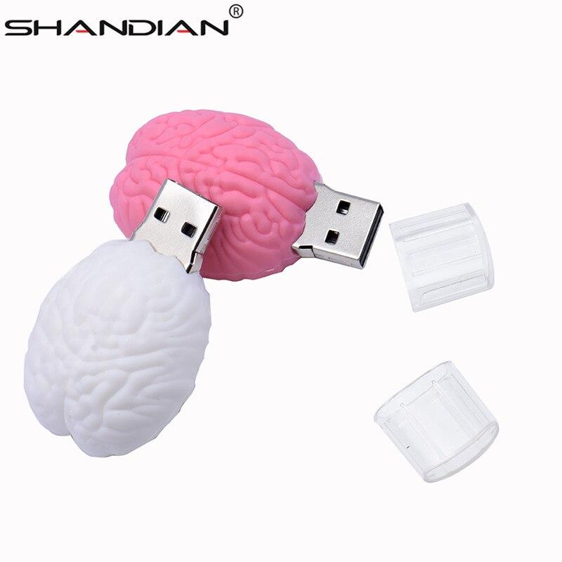 SHANDIAN Fashion Usb Flsh Drive 64GB 32GB 16GB 8G 4GB Cartoon Brain Model Pendrive Cute Usb Memory Stick Real Capacity Usb Key