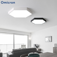 Omicron Hexagon Modern LED Ceiling Light Acrylic Minimalist White and Black LED Lamps For Living Room Home Hotel Decor Lights