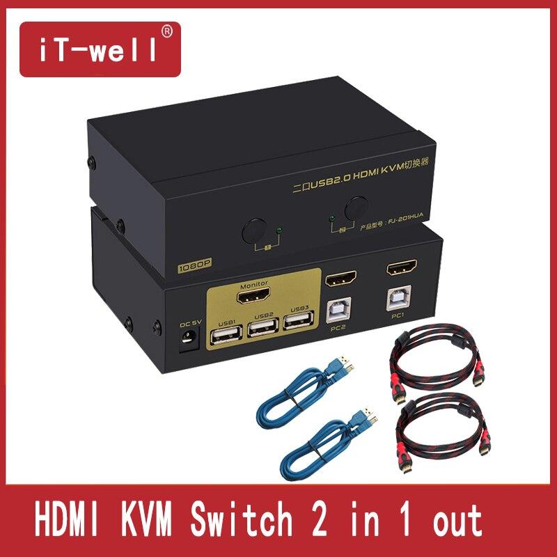 HDMI Switch Kvm Switch 2 Porte PC Monitor Tastiera Mouse Switcher Supporto Hotkey Mouse Scansione Automatica Di Commutazion