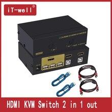 КВМ HDMI-переключатель 2 порт монитора ноутбука мышь переключатель поддержка горячих клавиш мыши Scansione автоматика Ди Commutazion
