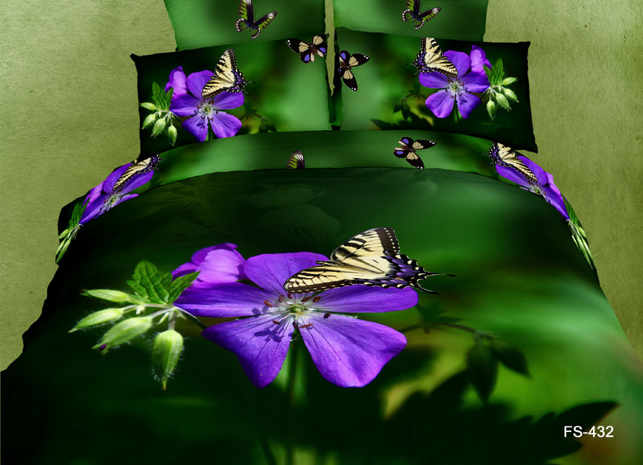 Deep Green Purple Floral Butterfly Bedding Sets King Size