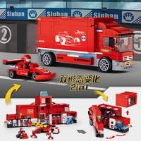 B0375 557pcs Pit Lane F1 Carrier vehicle Compatible Legoed Building Blocks Formula Racing DIY Assembling Bricks toys for kids